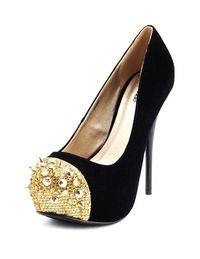 Spiked-toe velvet platform black high heels shoes-f00855