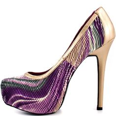 Purple And Gold High Heels | Tsaa Heel