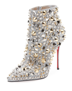 Louboutin studded metallic leather